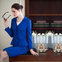 Autumn elegant ol gentlewomen navy blue slim waist work wear dress set skirt