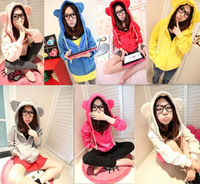 free shipping 2014 new winter hats for women cute bear ears hooded zip hoodie jacket Sweatshirts 8641