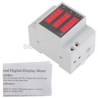Digital Din Rail Current Voltage Power Ammeter Voltmeter Meter Measure free shipping