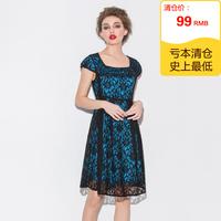Summer black lace satin big square collar short-sleeve elegant one-piece dress female