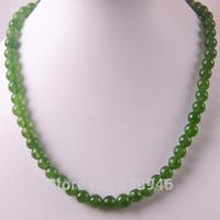 "Free Shipping 8MM Green Jasper Round Beads Necklace 18"" Jewelry F199"