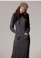 H6699 European style high collar hedging thick retro twist sweater dress long section of floor model real shot