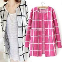 2014 autumn women's long-sleeve medium-long plaid slim sweater female cardigan thin sweater outerwear coat