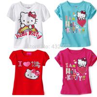 Promo New boy girl T-shirt Cartoon hello kitty  shirt Children Tops tees summer wear short-sleeved baby clothes size 2T-7