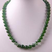 "Free Shipping 10MM Green Jasper Round Beads Necklace 18"" Jewelry F200"