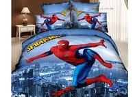 cartoon duvet cover sheet  king queen new 2014 100% cotton superman bedding set 4pcs kid spiderman bedclothes