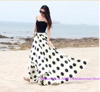 2014 summer Chiffon Long Skirts womens new fashion Polka Dots maxi skirt elastic high waist print casual skirt