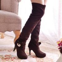 New 2014 Autumn Winter Boots Shoes Woman Knee High Boots Women Shoes Suede Boots Motorcycle Boots Botas Femininas