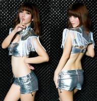 Lady Dancer DJ Tassel Costume Sexy Suite New Arrival Clothes Set Bra+Coat+ Pant 3PCS XTZ036