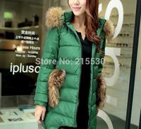2014 medium-long women's fashion duck down coat Russia winter slim thick down jackets ears large fur collar short down coat