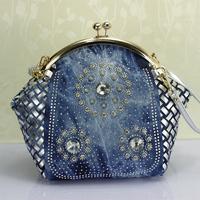 2014 fashion denim and PU knitted rhinestone women's messenger bag  clip folder women's handbag quality double shoulder bag