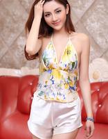 Adult apron women's sexy sleepwear mulberry silk print leopard print deep V-neck vintage temptation underwear