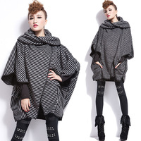 Loose woolen outerwear cloak trench batwing shirt plus size clothing fashion 2014 autumn new arrival coat