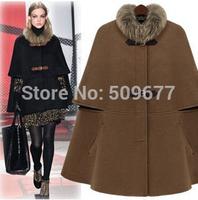 Fashion super star 2014 winter cloak cape paragraph fur collar cloak overcoat woolen outerwear fashion coat