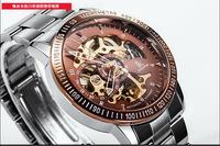 Fashion Businessmen Skeleton Automatic Watch 316L Analog Wristwatch Tachymetre Frame Back Transparent Luminous Hands 3ATM NW969