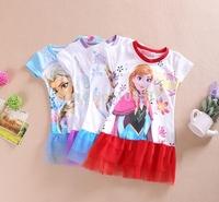 2014 Newest 1~8 years Baby Girls Girl T Shirts Kids Short Sleeve Elsa & Anna Frozen T Shirt Free shipping,100pcs/lot