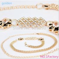 Belts Wholesale 2014 New Korean Wild Butterfly Combined Gold Waist Chain Belt Female Decorated Straps Women's Chain Belt Longer