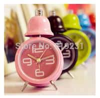 new Creative cute single boll metal mechanical clock mini alarm clock alarm animated cartoon alarm clock