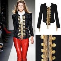 Punk Balm luxury metal chain tassel Napoleon's court ladies woolen jacket shrug coat