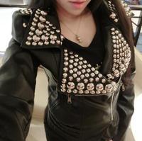 Bal Heavy metal rivet punk winter motorcycle Slim thin Washed PU Phi clothing jacket short coat