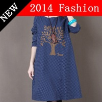 Fall long sleeve Dot printed casual blue dress women loose red dresses 2014 New Autumn fashion mori girl style woman clothes825K