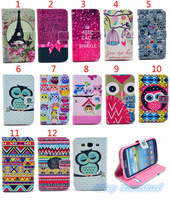 10PCS High quality PU Holster,The Owls Colored drawing Holster Turning insert card  Bracket  Case for Samsung Galaxy S3 i9300