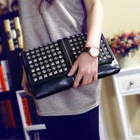 Genuine leather  women's fashion handbag clutch bag envelope bag day clutch rivets small bags one shoulder bag