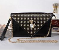 New brand rivet genuine leather women shoulder bag fox clutch purse chain small bag messenger bag
