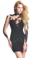 New Arrival Sheath Boat Neckline Long Sleeves Short/Mini White Appliques Lace Sexy Cocktail Dresses 2014 Free Shipping