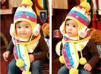 children baby boys girls kids cute rabbit model rainbow color winter Ear protection warm elastic Knitted soft beanie scarf set