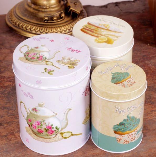 3 Pcs Retro Vintage Tea Pot Cake Cupcake Kitchen Coffee Tea Sugar Candy Biscuit Container Jar Tin Metal Zakka(China (Mainland))