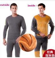 free shipping 2014 hot sale men thicken thermal underwear soft winter warm clothes lovers set design
