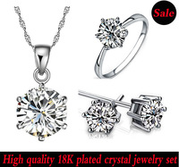 Free shipping/alloy crystal jewelry/silver/crystal necklace/jewelry set/ring+earrings+necklace pendant/18K plated/IDHA1263