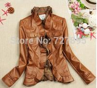 Short Full Short Zipper Turn-down Collar Full Ladies Pu Washed Leather Jacket Women Jacket Slim Lace Long-sleeved Jacket
