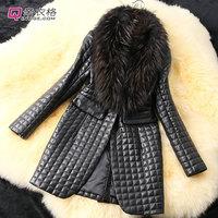 Faux Fur Full Slim Faux Fur Full Slim Plaid Big raccoon fur collar sheep skin leather and cotton leather jacket, long coat