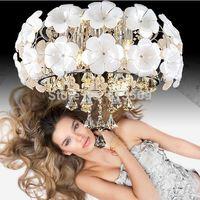kingart Crystal flower pendant light modern brief rustic style led pendant lamps lifter dual usage bedroom lights