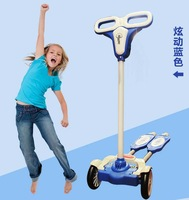 Free Shipping safer 4-wheel ZIP flick style double-board self propelled kid / child / pupil kick scooter foot scooter