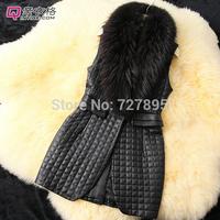 Long Fashion vest Oversized fake fur collar sheep Pima cotton imitation leather Miss Ma Jia plus long paragraph vest