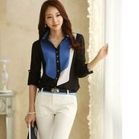 New  2014 Autumn Women's Office Korean Fashion Style Color Block Collar Long Sleeve Chiffon Blouses  Tops 1005