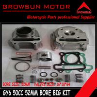 50cc 52mm Big Bore Performance Kit (valves 16*18*64mm) GY6 50cc 139QMB Chinese Moped Scooter Parts Roketa,Baotian,Taotao
