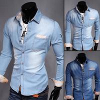 High Quality!2014 New Arrival Men's Denim Water Wash Shirt Casual Men Shirts Mens Long Sleeve Cotton Shirts Free Shipping