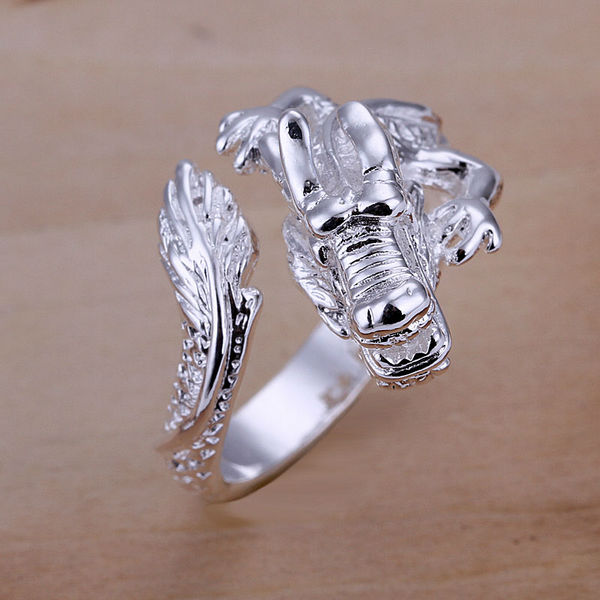 hot sale 925 silver fashion female party jewelry Women wedding adjustable dragon rings free shipping wholesale price gifts SR054(China (Mainland))