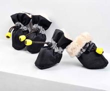 Envío gratis ! engrosamiento de invierno en el interior de piel 4pcs / set zapatos perro de mascota / Calzado de bota de lluvia de productos para mascotas zapatos para la lluvia impermeables(China (Mainland))