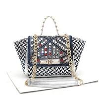 Diamond bag knitted rivet diamond one shoulder cross-body portable women's denim handbag gold chain of packet