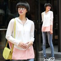 Tx738 2014 autumn women's loose basic shirt top color block decoration long-sleeve T-shirt female