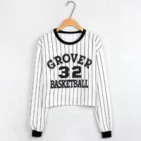 New 2014 Autumn Fashion Women Striped Baseball Clothing Cotton Pullovers Casual Long-sleeved O-neck Sweatshirt Girl t shirt 805