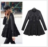 2014 Autumn new coat fat women PU spliced big size jackets winter black windbreaker jacket suede winter slim ball gown dress 5XL