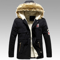 2014 new men's winter paddeds jacket fashion brand ovo lambs wool collar cotton jacket and long sections Slim P69