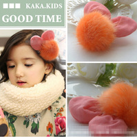 2014 Children mickey fall winter fur pompon hair clip hairpins wholesales
