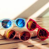 Free shipping Colorful reflective sunglasses female 2014 anti-uv female candy series sunglasses transparent
